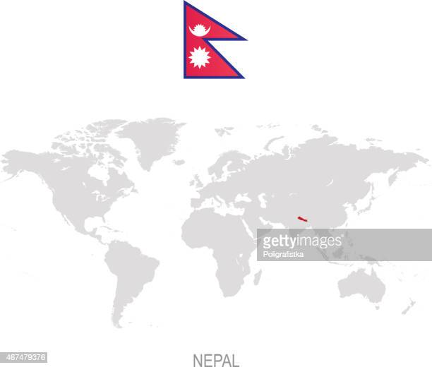 Flag of Nepal and designation on World map