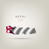 Flag of NEPAL as a country with a shadow
