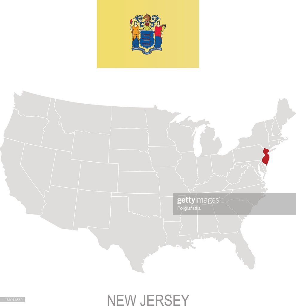 Flag Of New Jersey And Location On Us Map Vector Art Getty Images