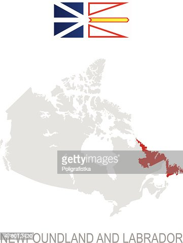 Flag Of Newfoundland And Labrador And Location On Canada Map Vector ...
