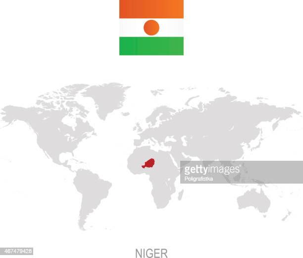 Flag of Niger and designation on World map