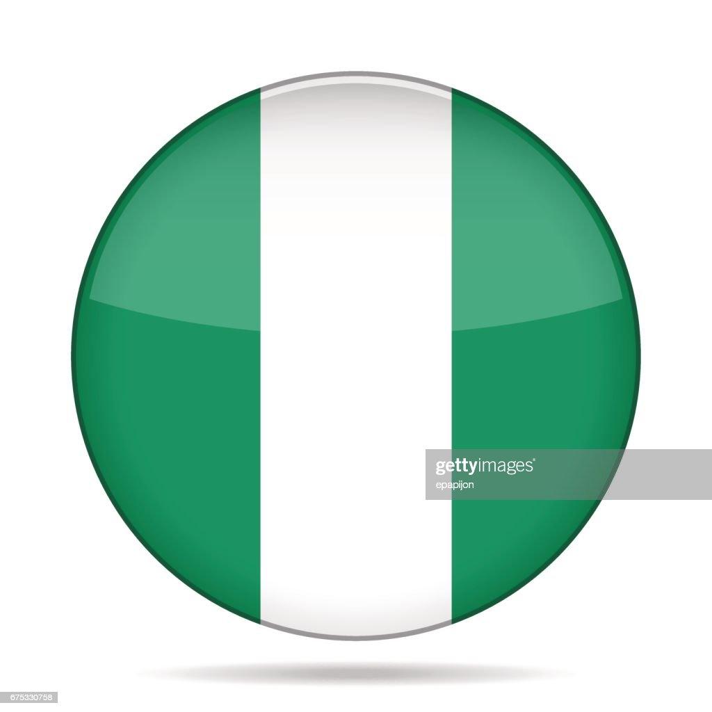 Flag of Nigeria. Shiny round button.