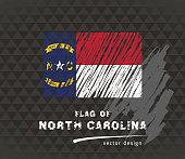 Flag of North Carolina, vector pen illustration on black background