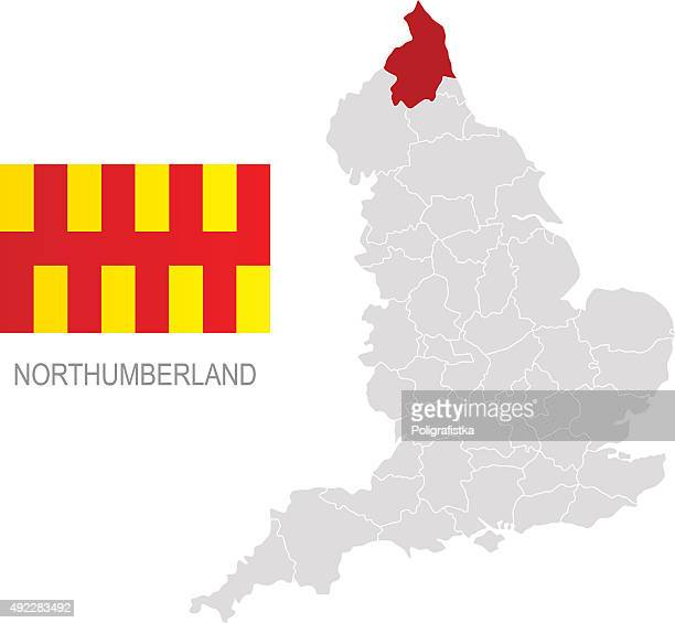 flag of northumberland and location on england map - northumberland stock illustrations, clip art, cartoons, & icons