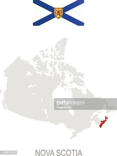 flag of nova scotia and location on canada map - flag of nova scotia stock illustrations