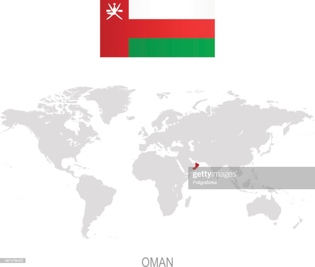 Flag of oman and designation on world map vector art getty images flag of oman and designation on world map vector art gumiabroncs Gallery