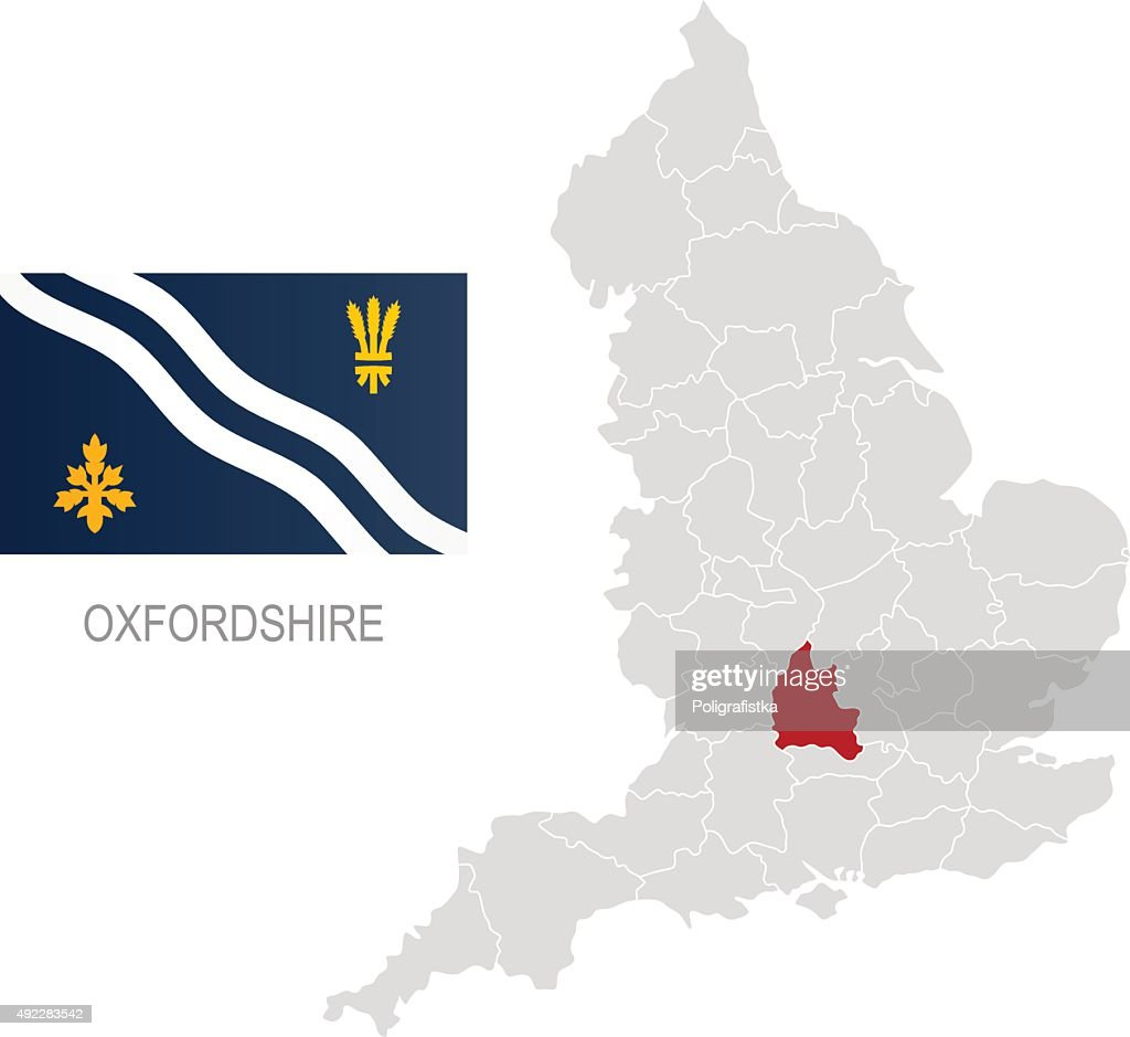 Flag Of Oxfordshire And Location On England Map Vector Art Getty