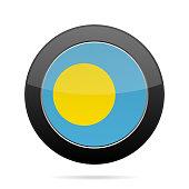 Flag of Palau. Shiny black round button.