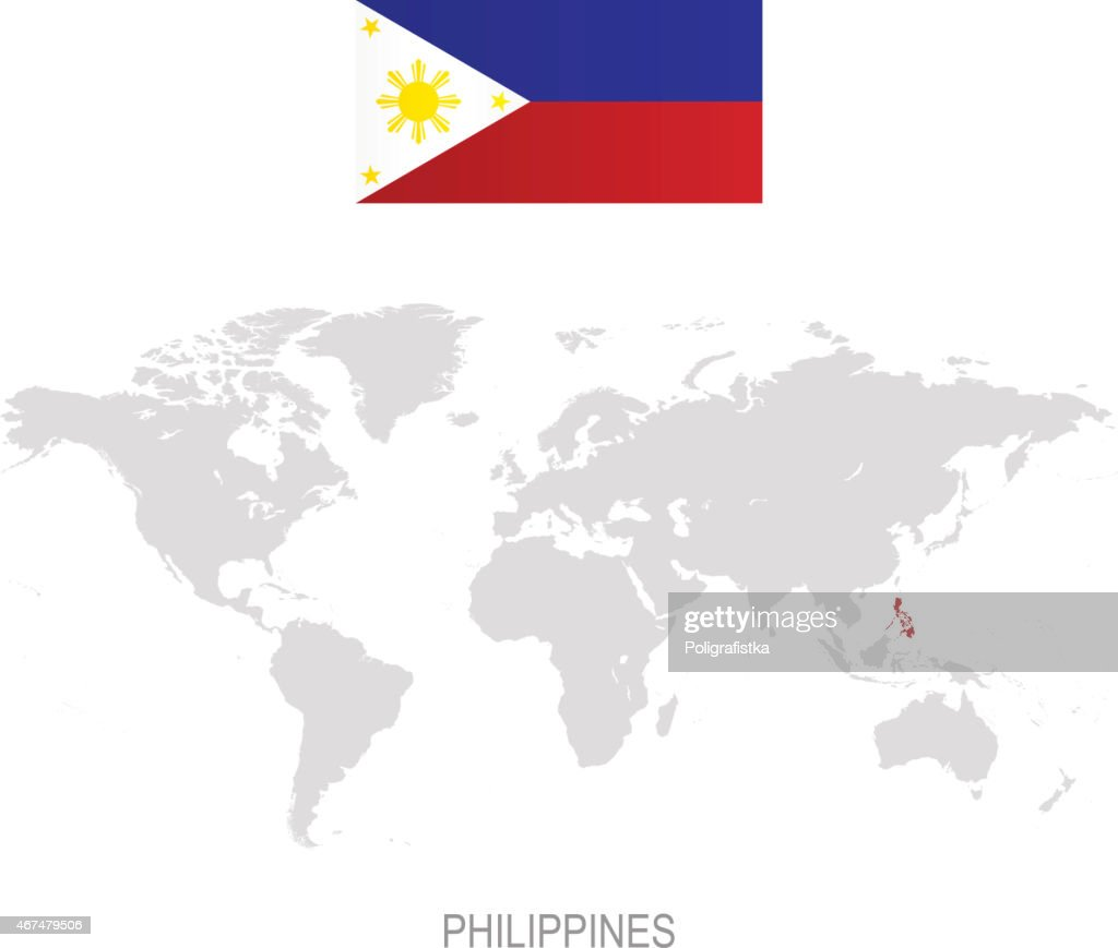 Flag Of Philippines And Designation On World Map Vector Art | Getty ...