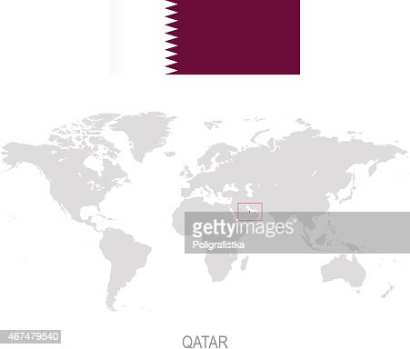 Flag Of Qatar And Designation On World Map Vector Art | Getty Images