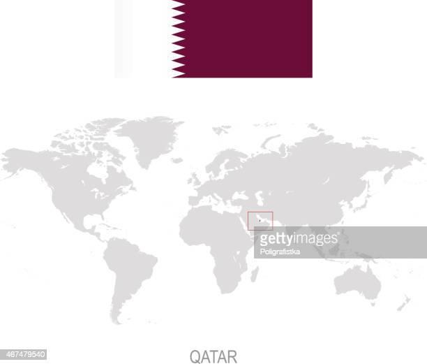 flag of qatar and designation on world map - qatar stock illustrations, clip art, cartoons, & icons