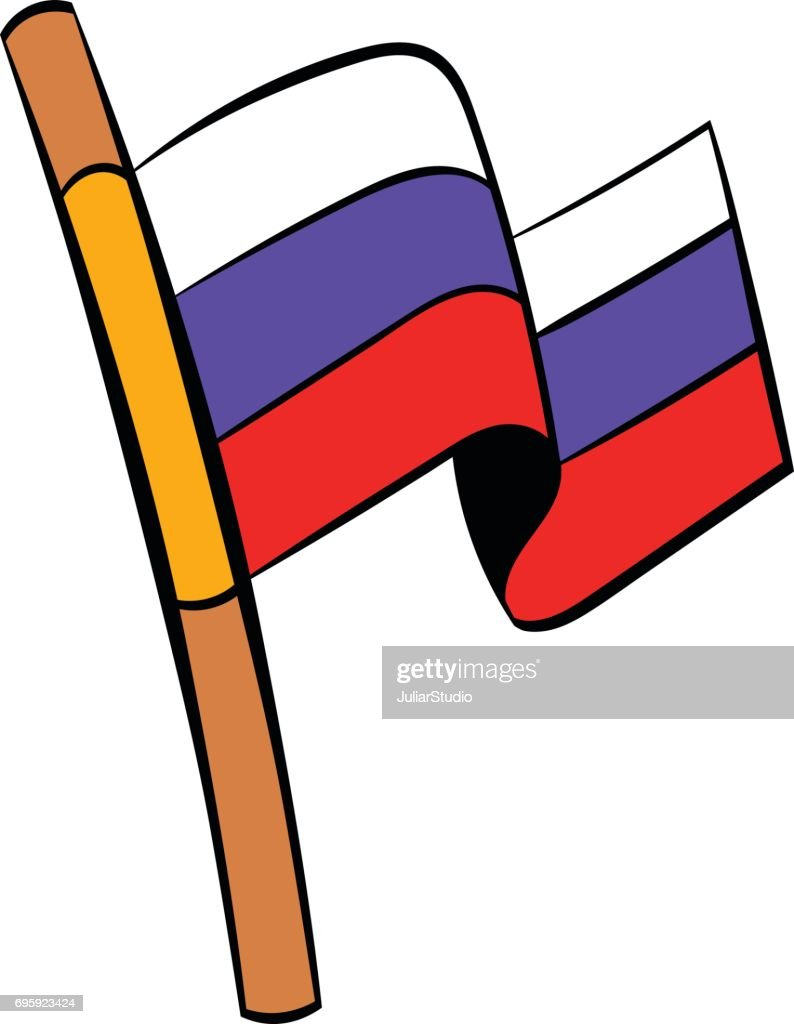 Flag of Russia icon cartoon
