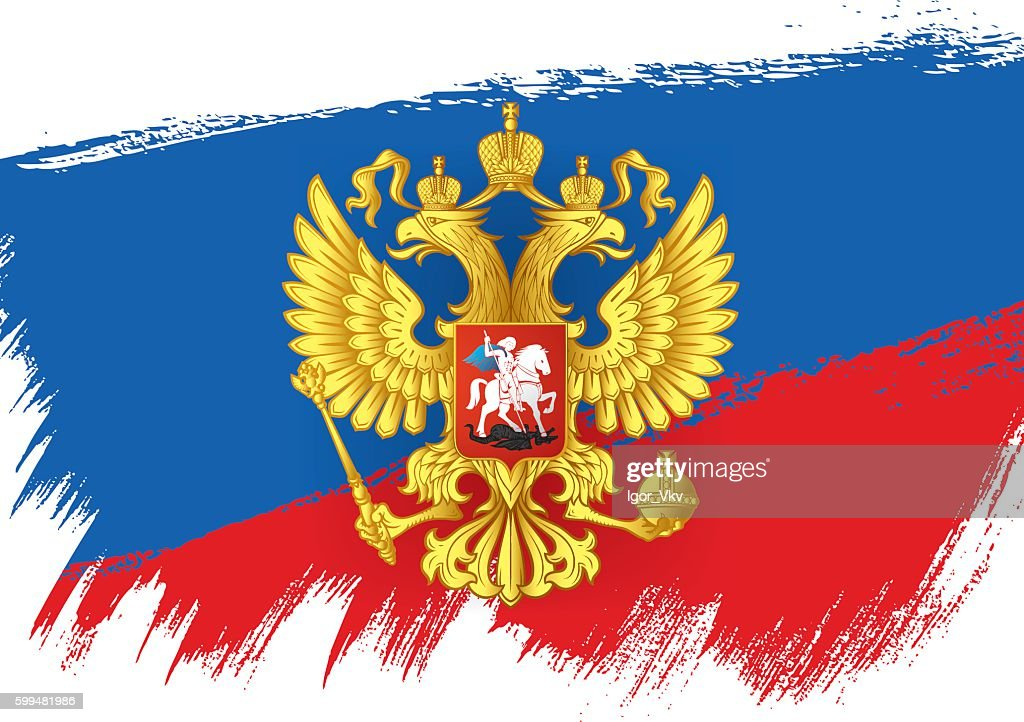 Flag of Russia. Russian flag. Coat of Arms of Russian Federation