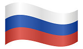 Flag of Russia waving
