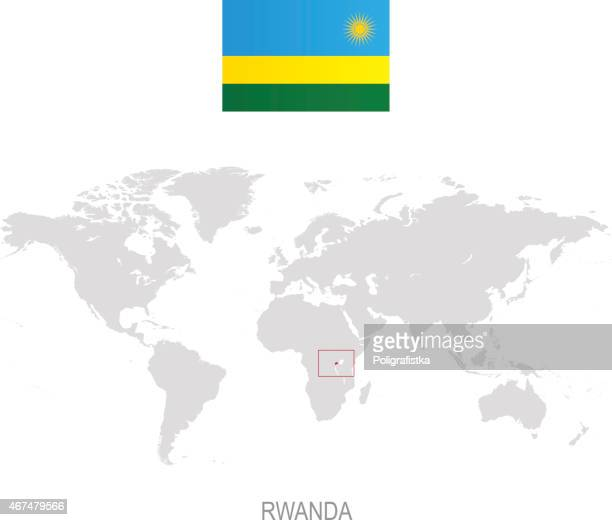 Flag of Rwanda and designation on World map
