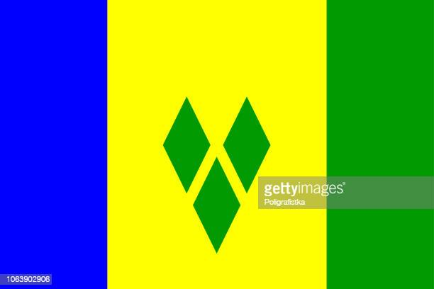flag of saint vincent and the grenadines - saint vincent and the grenadines stock illustrations