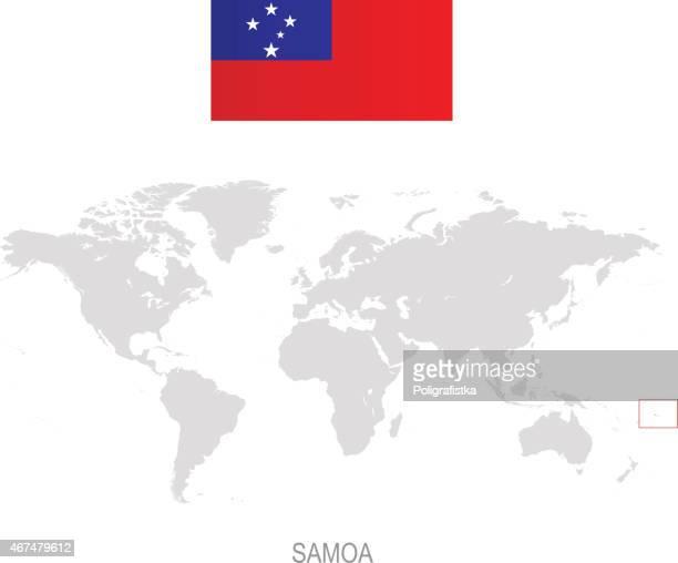 flag of samoa and designation on world map