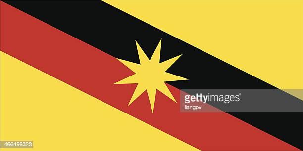 flag of sarawak - sarawak state stock illustrations