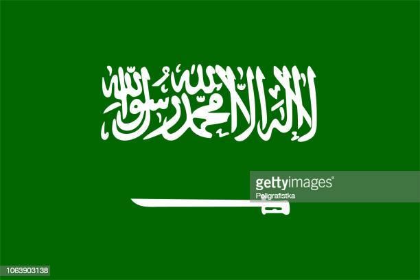 stockillustraties, clipart, cartoons en iconen met vlag van saoedi-arabië - saoedi arabië