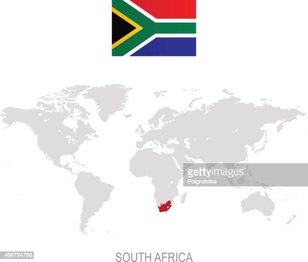Flag of South Africa and designation on World map