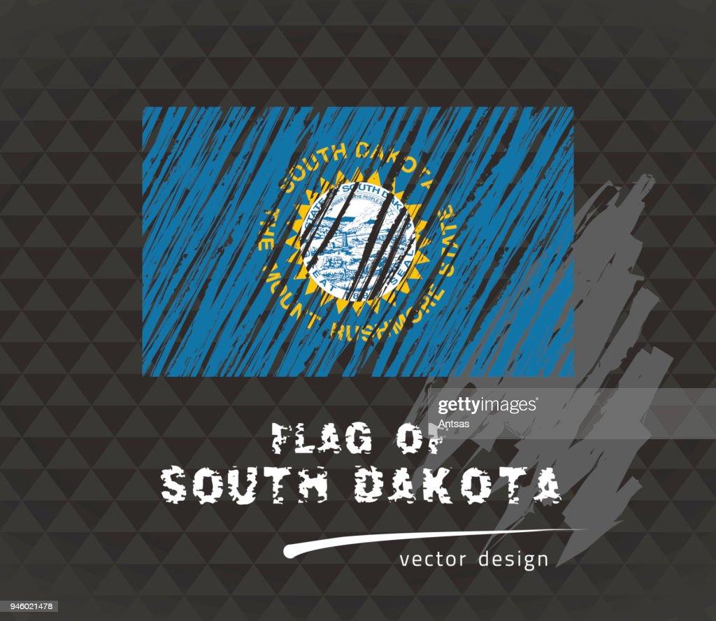 Flag of South Dakota, vector pen illustration on black background