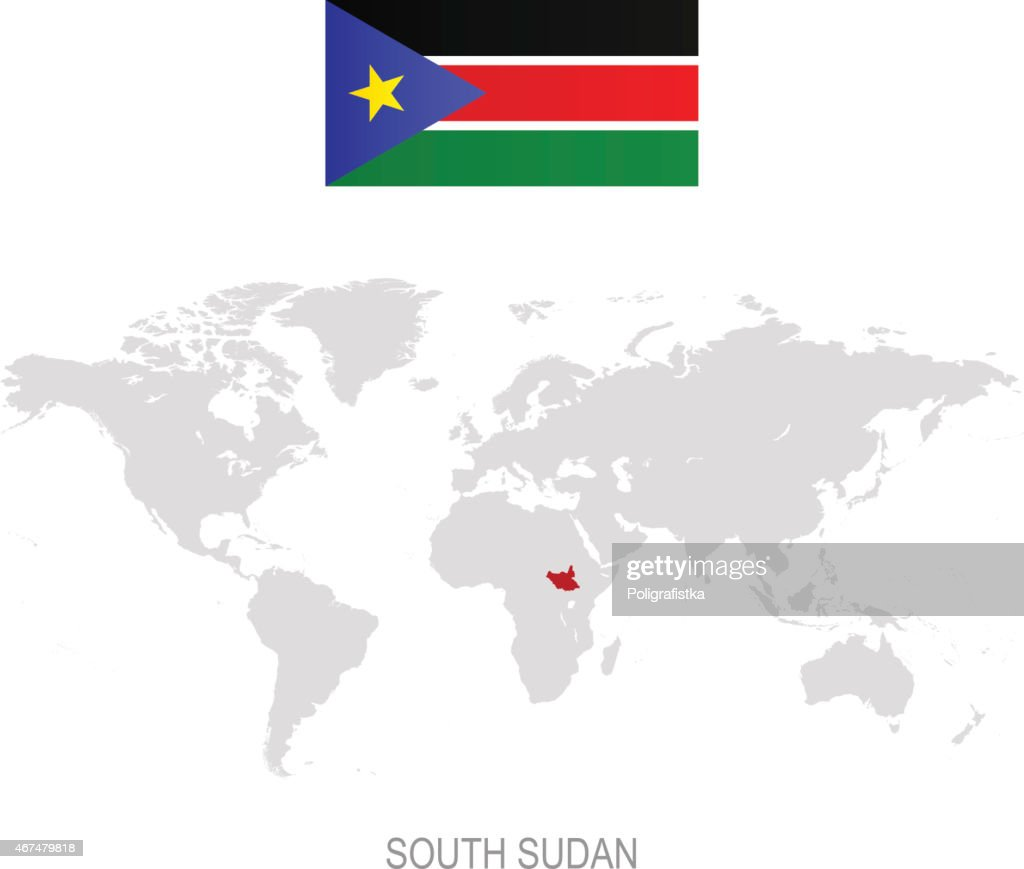 Flag Of South Sudan And Designation On World Map Vector Art Getty
