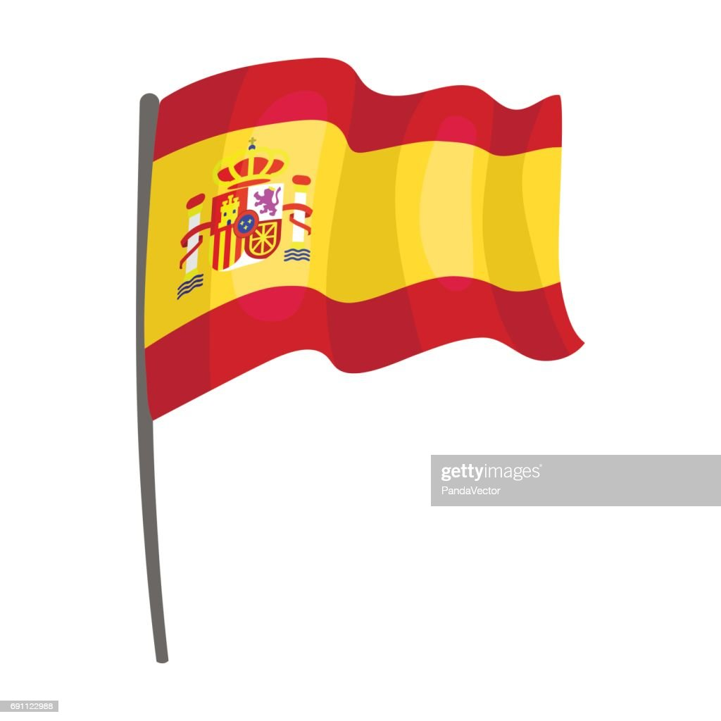 Flag of Spain icon in cartoon style isolated on white background. Spain country symbol stock vector illustration.