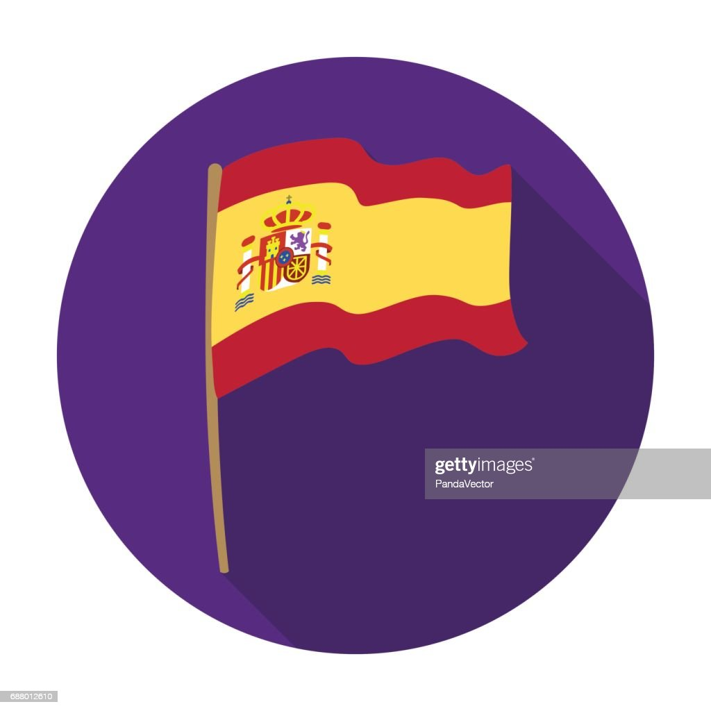 Flag of Spain icon in flat style isolated on white background. Spain country symbol stock vector illustration.