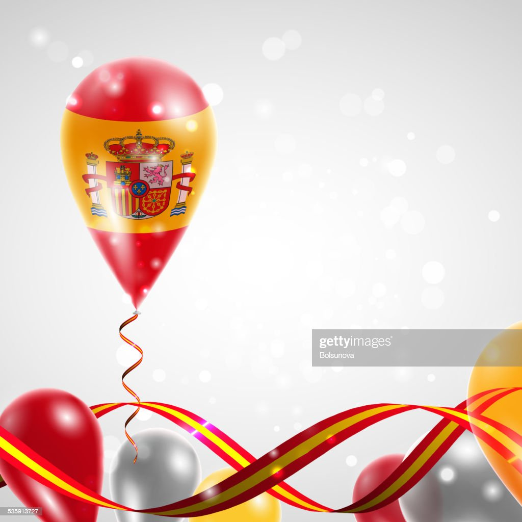 Flag of Spain on balloon : Vector Art