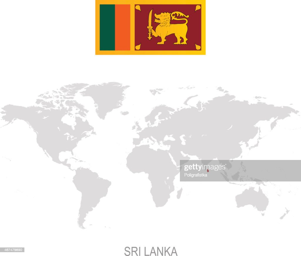 Flag Of Sri Lanka And Designation On World Map Vector Art Getty Images