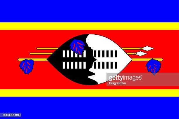 flag of swaziland - swaziland stock illustrations