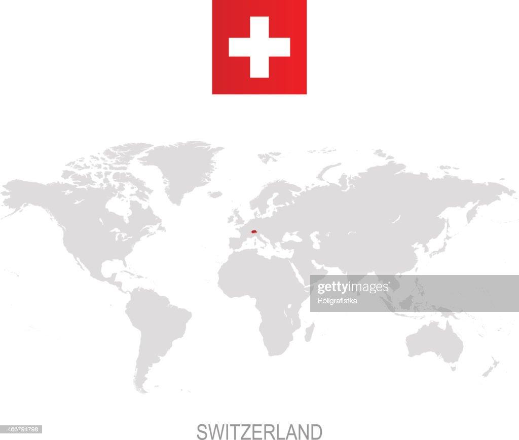 Flag of switzerland and designation on world map vector art flag of switzerland and designation on world map vector art gumiabroncs Images