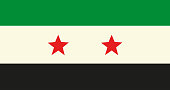 Flag of Syrian Arab Republic (Syria) used by the Syrian opposition (Syrian National Coalition, National Coalition for Syrian Revolutionary and Opposition Forces) in official colors and proportions
