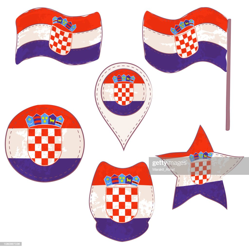 Flag of the Croatia Performed in Defferent Shapes