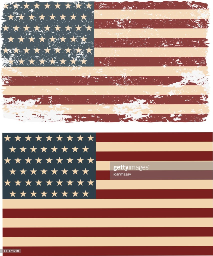 Flag of the USA in retro style