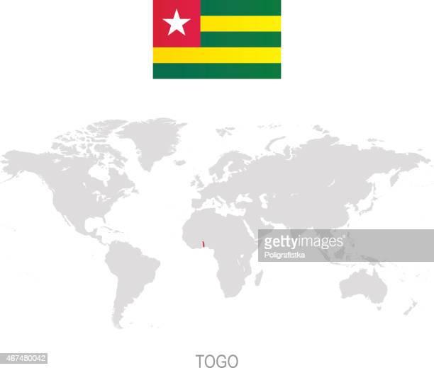 flag of togo and designation on world map - togo stock illustrations, clip art, cartoons, & icons