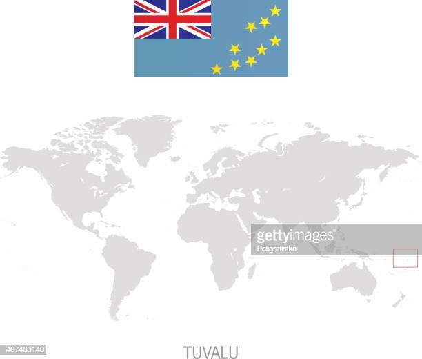 flag of tuvalu and designation on world map - tuvalu stock illustrations, clip art, cartoons, & icons