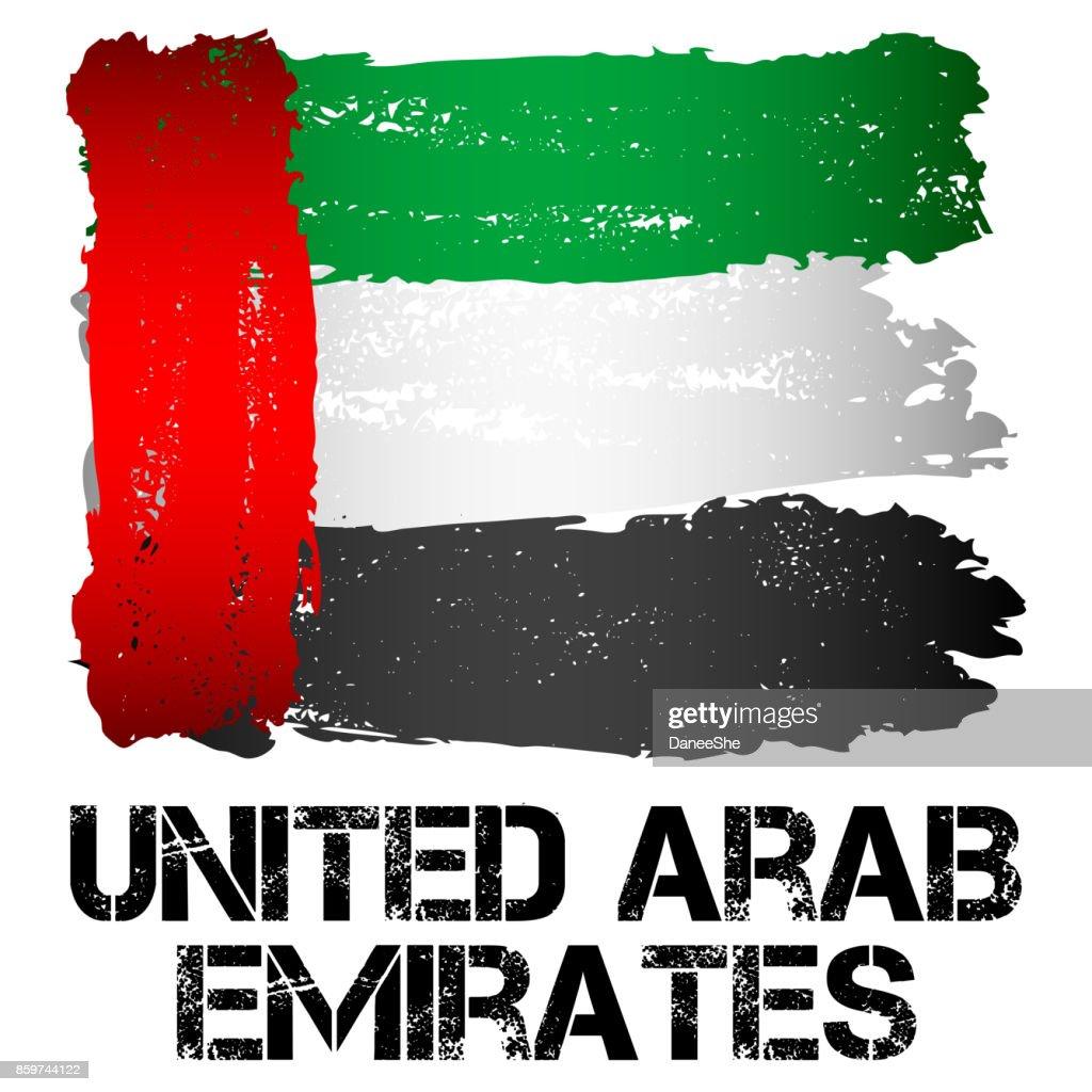 Flag of UAE from brush strokes