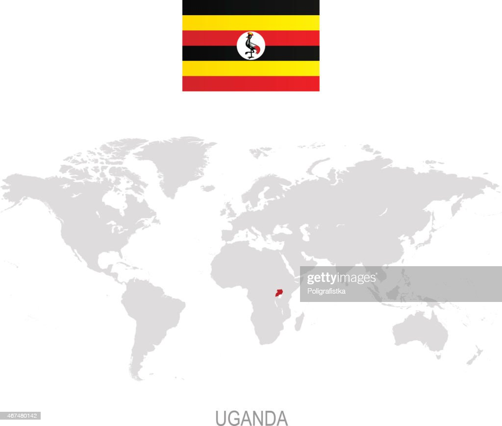 Flag Of Uganda And Designation On World Map Vector Art | Getty Images