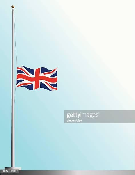 flag of uk at half staff - half mast stock illustrations