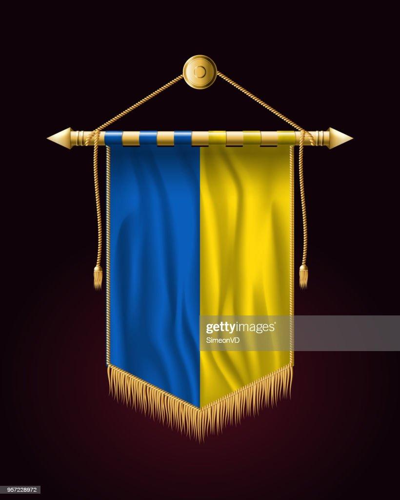 Flag of Ukraine. Festive Vertical Banner. Wall Hangings with Gold Tassel Fringing