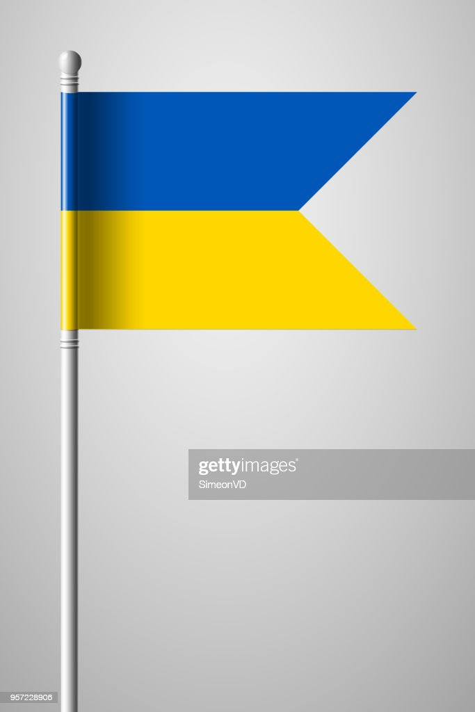 Flag of Ukraine. National Flag on Flagpole. Isolated Illustration on Gray Background