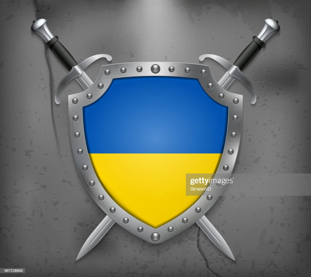 Flag of Ukraine. The Shield with National Flag. Two Crossed Swords. Vector Medieval Background