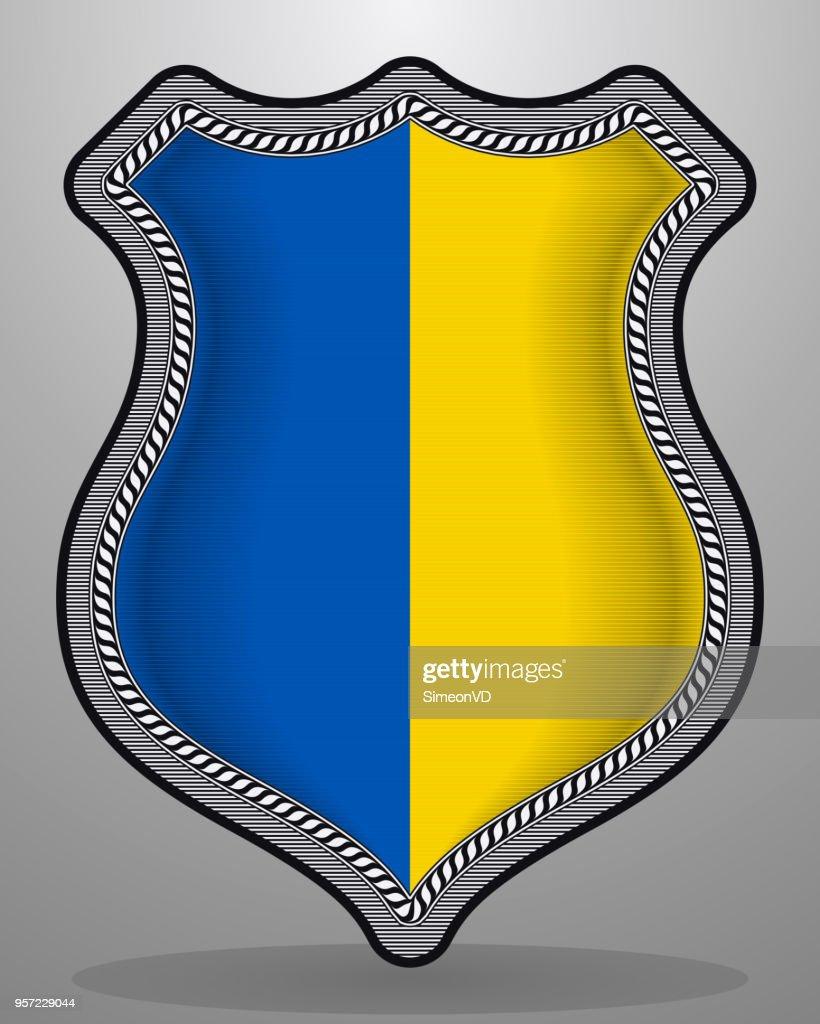Flag of Ukraine. Vector Badge and Icon. Vertical Orientation Version