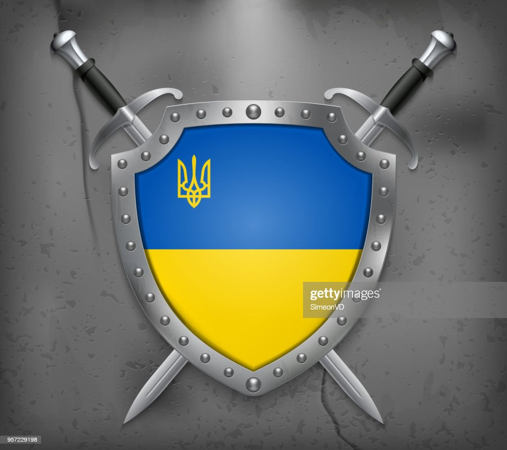 Flag of Ukraine with Trident. The Shield with National Flag. Two Crossed Swords. Vector Medieval Background