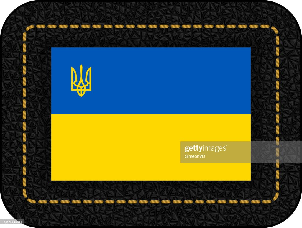 Flag of Ukraine with Trident. Vector Icon on Black Leather Backdrop. Aspect Ratio 2:3