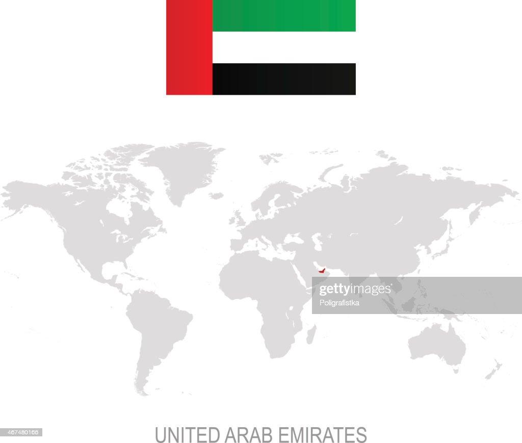Flag Of United Arab Emirates And Designation On World Map stock ...