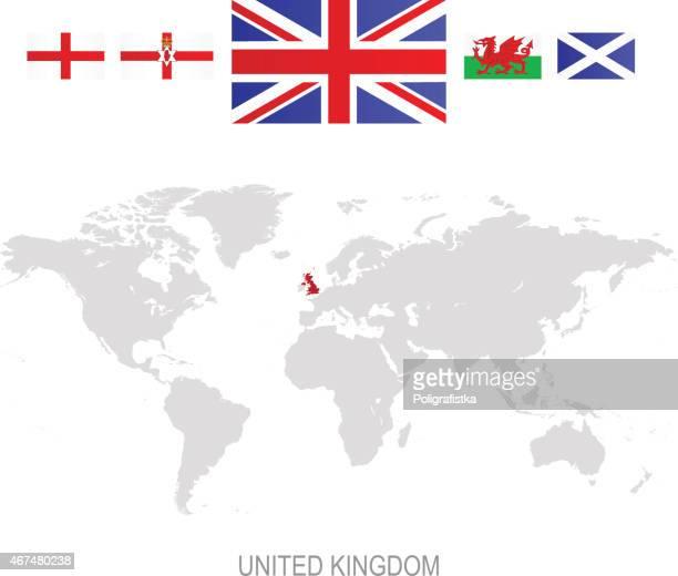flag of united kingdom and designation on world map - welsh flag stock illustrations