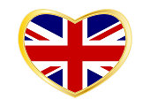 Flag of United Kingdom in heart shape Golden frame
