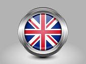 Flag of United Kingdom. Metal Round Icon